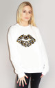 Grey and Orange Leopard Graphic Lip Jumper in White by Sade Farrell