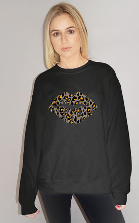 Grey and Orange Leopard Graphic Lip Jumper in Black by Sade Farrell