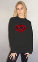 Red Leopard Print Graphic Lip Jumper in Black by Sade Farrell