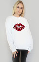 Red Leopard Print Graphic Lip Jumper in White by Sade Farrell