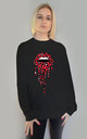 Red and Black Leopard Drip Lip Jumper in Black by Sade Farrell