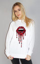 Red and Black Leopard Drip Lip Jumper in White by Sade Farrell