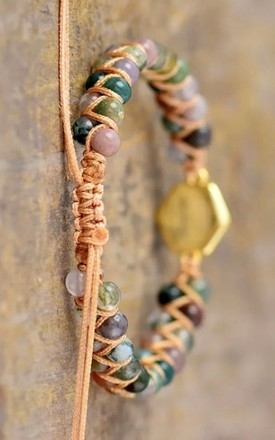 Natural Indian Agate And Pyrite Stone Bracelet by Collections by Hayley