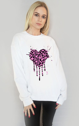 Pink Heart Leopard Drip Motif Jumper in White by Sade Farrell