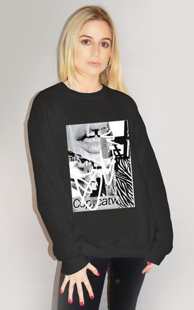 Lip Graphic Jumper In Black by Sade Farrell