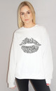 Positive Slogan Lip Jumper in White by Sade Farrell