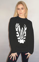 Zebra Graphic Print Jumper in Black by Sade Farrell