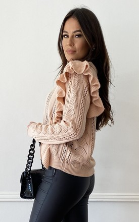 Arabella Diamante Button Frill Detail Cardigan Nude by Girl In Mind