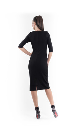 Sequin Detail Stretch Dress in Black by Conquista Fashion