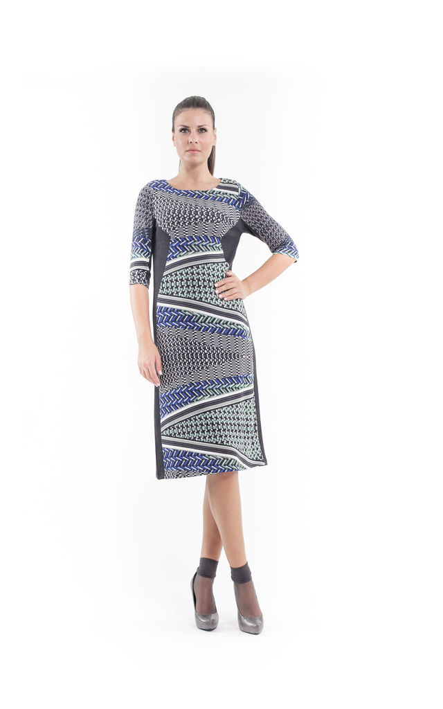 Print and Panel Stretch Dress by Conquista Fashion