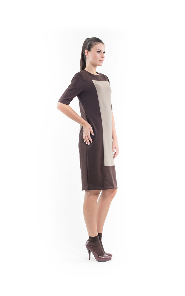 Contrast Fabric Shift Dress camel by Conquista Fashion