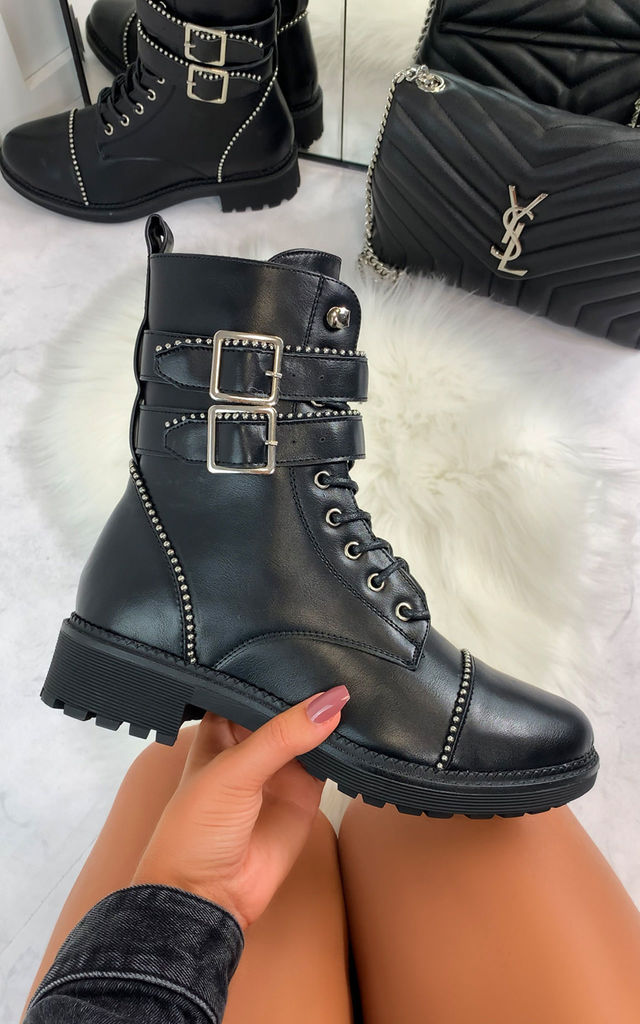 Aretha Biker Ankle Boots in Black by Larena Fashion