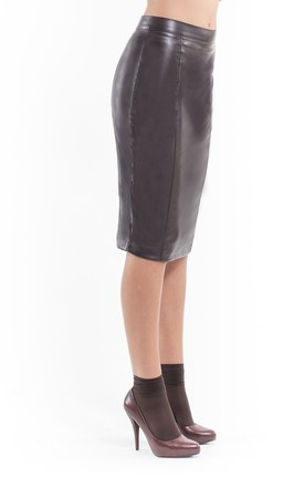Faux Leather Pencil Skirt brown by Conquista Fashion
