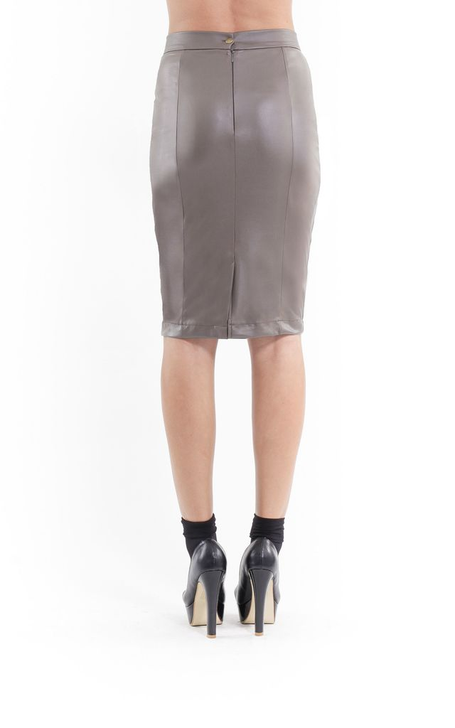 Faux Leather Pencil Skirt olive by Conquista Fashion