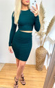 Crop Top & Mini Skirt Co-ord in Green by CY Boutique