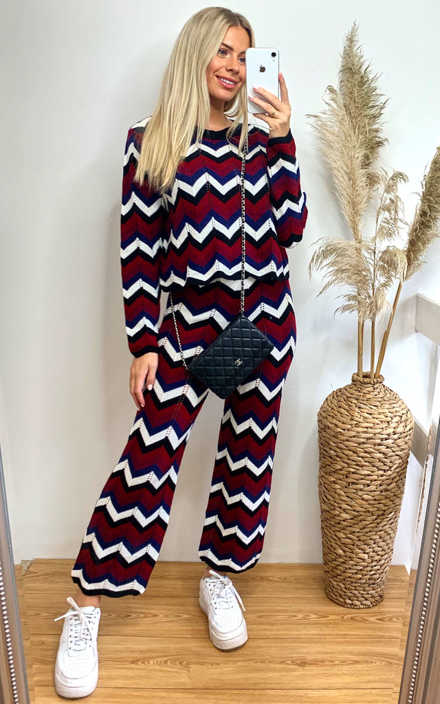 Loungewear Crop Top & Trousers co-ord in Wine Zig Zag by CY Boutique