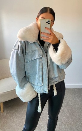 Aster Faux Fur Denim Bomber Jacket in Denim by IKRUSH