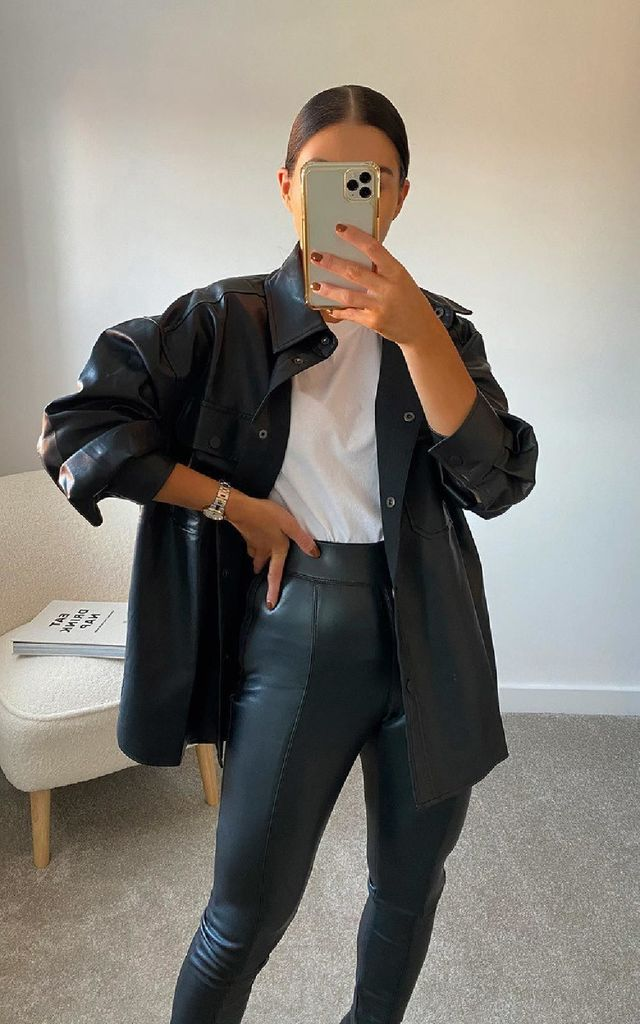 Ruby Faux Leather Shirt Jacket in Black by IKRUSH