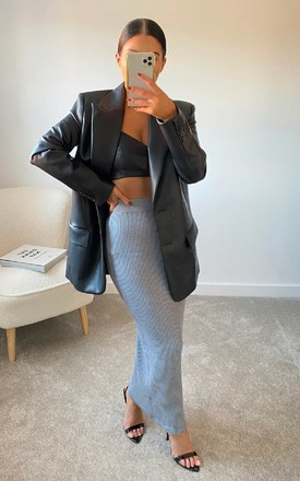Tessa Knitted Bodycon Midi Skirt in Grey by IKRUSH