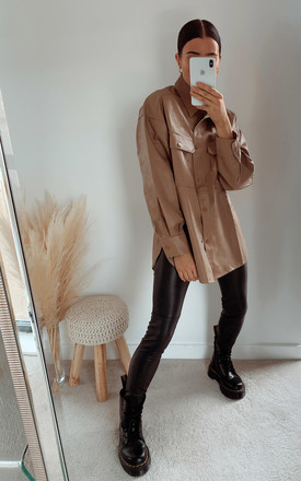 Ruby Faux Leather Shirt Jacket in Taupe by IKRUSH