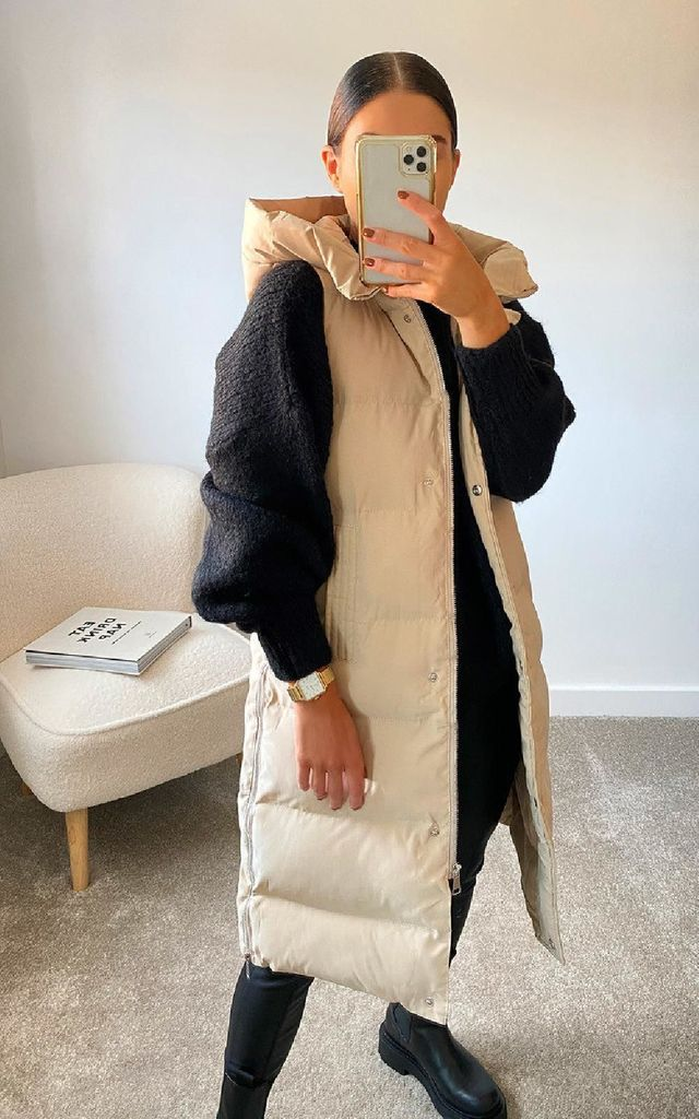 Mia Sleeveless Puffer Jacket in Nude by IKRUSH