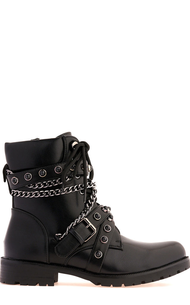 Lacey Crossover Stud & Chain Biker Boot in Black by Miss Diva