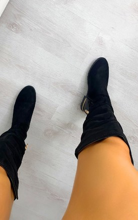 Jay Suede Over Knee High Boots in Black by IKRUSH