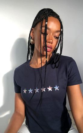 Star Print Loungewear T-shirt in Navy with Silver Glitter Stars by LimeBlonde