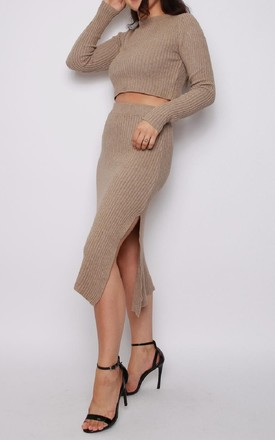 Jumper and Skirt Knitted Co-ord Set in Camel by Aftershock London