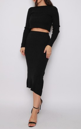 Jumper and Skirt Knitted Co-ord Set in Black by Aftershock London