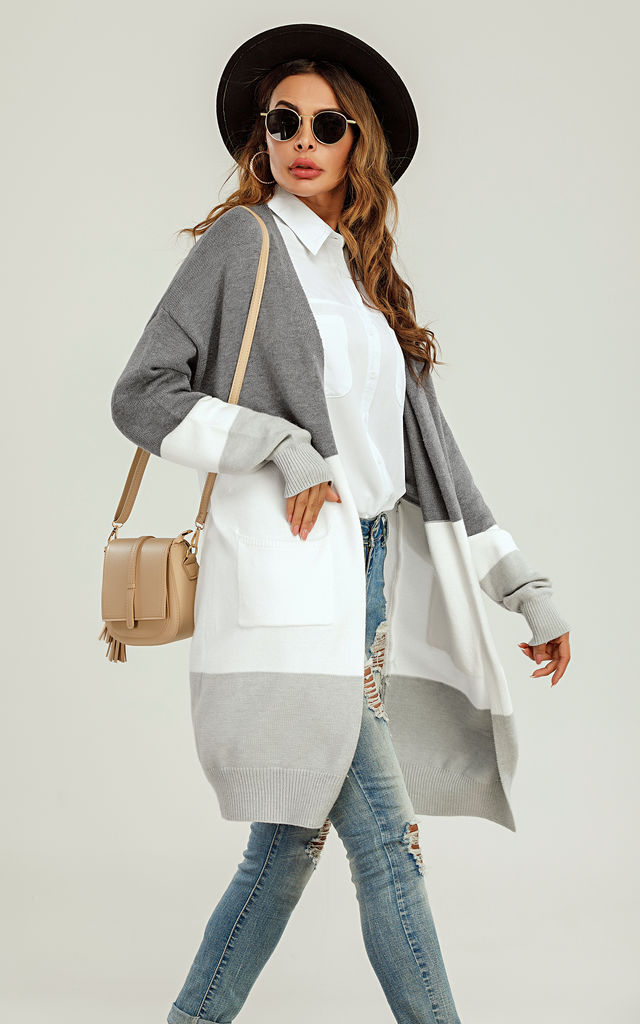 Colour Block Midi Cardigan In Grey & White by FS Collection