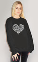 White Leopard Print Heart Jumper In Black by Sade Farrell