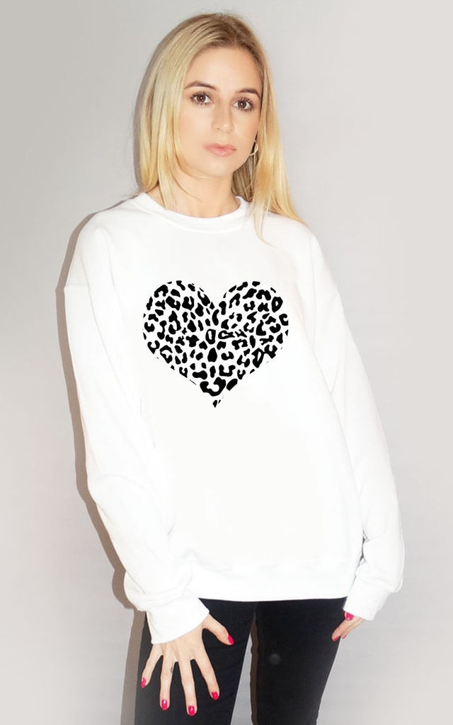 Black Leopard Print Heart Jumper In White by Sade Farrell