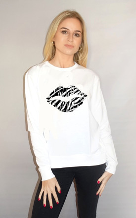 Zebra Kiss Lip Jumper in White by Sade Farrell