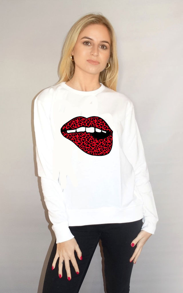 Red and Black Lip Motif Jumper In White by Sade Farrell