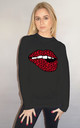 Red and Black Lip Motif Jumper In Black by Sade Farrell