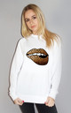 Leopard Print Lip Motif Jumper In White by Sade Farrell