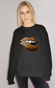 Leopard Print Lip Motif Jumper In Black by Sade Farrell