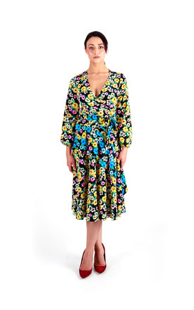 Floral Multicolor Frilled Wrap Front Midi Dress by Pineapple