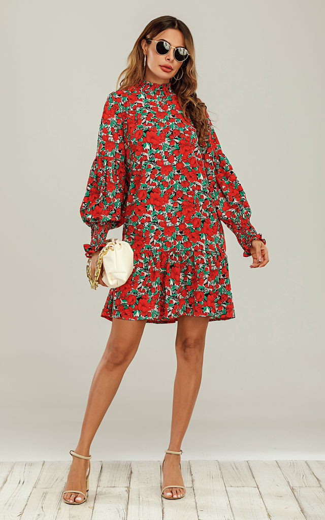 Frill Detail High Neck Shift Dress In Red & Green Floral by FS Collection