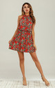 Halter Neck Mini Layer Dress In Red Floral Print by FS Collection