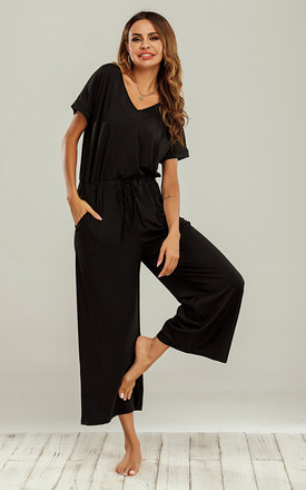 Black Loungewear Loose Jumpsuit With Short Sleeve by FS Collection Product photo