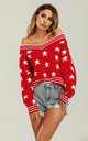 Striped V Neck Red Jumper With White Star by FS Collection