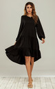 Tiered Crinkle Tunic Midi Dress In Black Loungewear by FS Collection