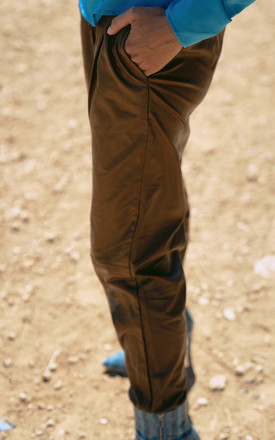 New York leatherette joggers in Tan by AMO