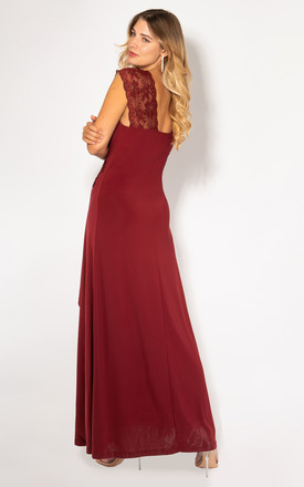 Gathered Front Lace Strap Burgundy Maxi Dress by KRISP