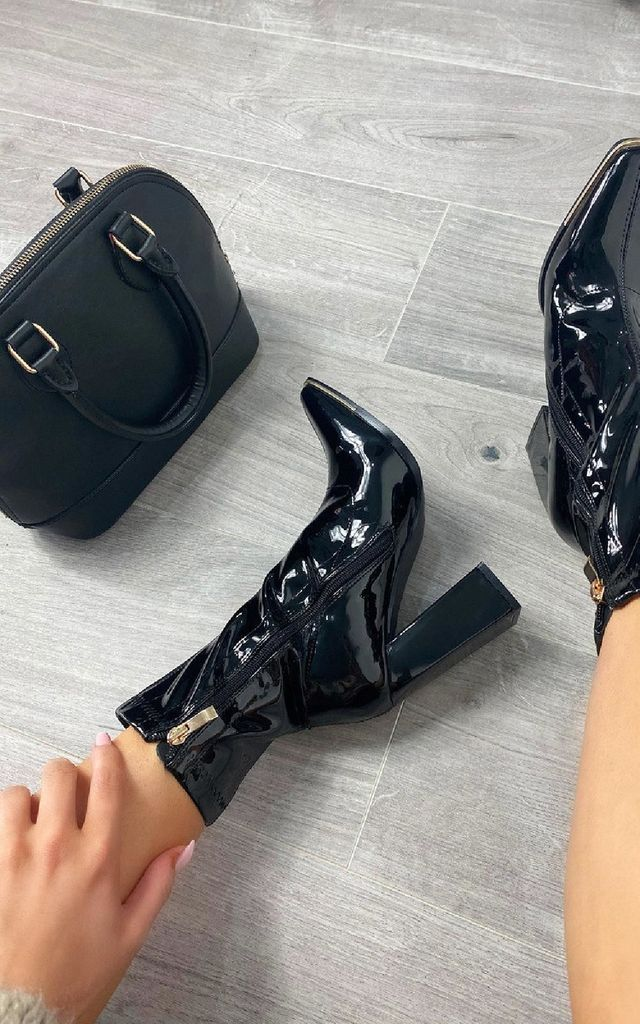 Winnie Heeled Ankle Boots in Black by IKRUSH