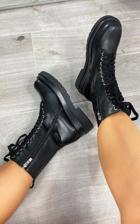 Tallulah Lace Up Biker Boots in Black by IKRUSH