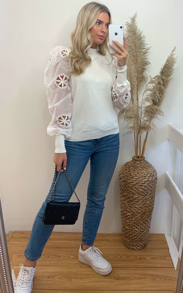 Cream jumper top with Crocheted Puff Sleeves by CY Boutique
