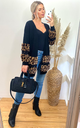Faux leopard print fur cardigan with embellishment by CY Boutique